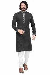 Jacquard Multicolor Ethnic Wear Kurta Pajama, Band Collar