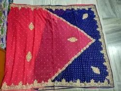 Party Wear Border Indian saree, With blouse piece, 6.5 m