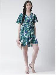 Women Green & Blue Printed Wrap Dress