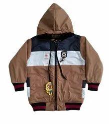 NS Brown Boys Hooded Jacket, Handwash, Size: 28