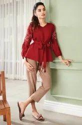 Janasya Women'S Maroon Cotton Flex Top (J0195)