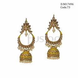 Fusion Meenakari Jhumka Handmade Earrings