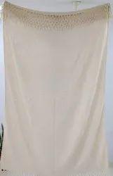 Handloom Cotton Sofa Throw Tasseled Wrap Blanket Cotton Plain Bedding Throw Runner