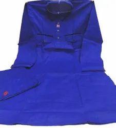 Party Blue Men Cotton Pathani Kurta Pajama, Band Collar, Size: Medium