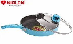 Nirlon Non Stick Aluminium Non Induction Blue Sea Fry Pan with Glass Lid