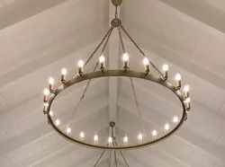 Candle-Style Iron Round White Chandeliers