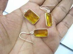 925 Sterling Silver Stamped Pendant Yellow Lemon Quartz Stone Gemstone Pendant