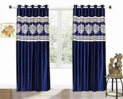 Polyster Blue Embroidered Polyester Window Curtain, For Door, Size: 7feet
