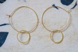 Hammered Disk Hoop Earrings