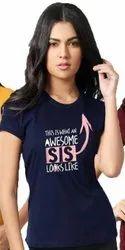 FANCIER Half Sleeve Ladies Printed T Shirt