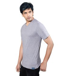 Mens Grey Cotton T-Shirts