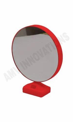 Red Glossy Led Magic Mirror Round, Red Round Mirror