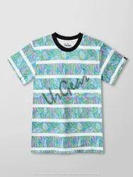 Blue Floral Print Striped Kids T-Shirt