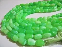 Natural Green Opal Plain Smooth Nugget Tumbled Beads 10 To 20mm Strand 8 Inches Long