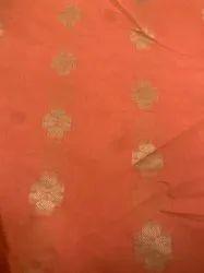 Modal Chanderi Print Fabric, Buttas, Orange