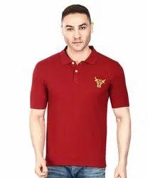 Mens Red Collar Neck T Shirt