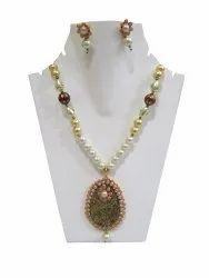 Handmade Gold Painted Designer Pendant Necklace Set Beaded Jewellery