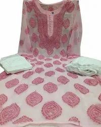 Pink Embroidered Georgette Suit, Size: Small
