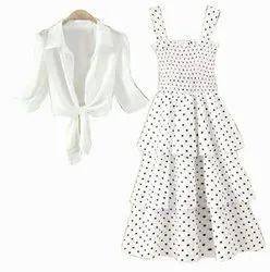 White Printed Fancy Partywear Women Dresses