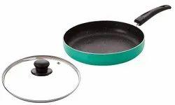 Nirlon Non Stick Aluminium Non Induction Greenchef Granite Fry Pan with Glass Lid