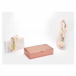 Square Weave Design Rose Gold Box, Size-Small