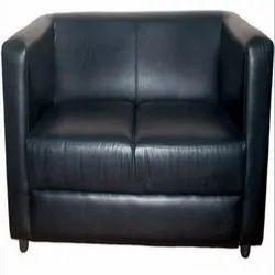 Black Modern Office Leather Sofa