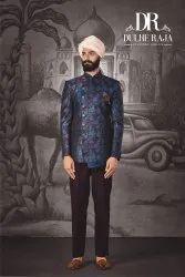 Party Dulhe Raja Blue Printed Jodhpuri Suit, Size: Small