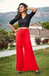 Janasya Women's Black Cotton Crop Top(J0082)