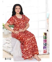 Full Length Cotton Batic Embroidery Printed Nighty, Free, 18 To 65