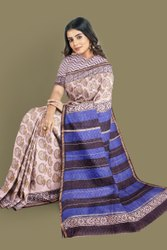 Casual Wear Block Print Printed Chanderi Silk Cotton Saree, With Blouse Piece, 5.5 m (separate blouse piece)