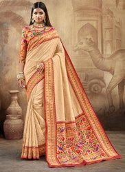 Graceful Cream Color Function Wear Designer Saree