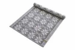 Grey Cotton Ribbed Carpet, Size: 70x160cm