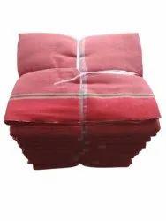 Plain 2.5m Handloom Cotton Gamcha, Red, 250-350 GSM