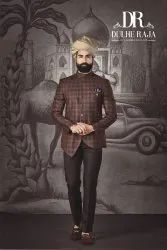 Party Dulhe Raja Brown Check Jodhpuri Suit, Size: Small