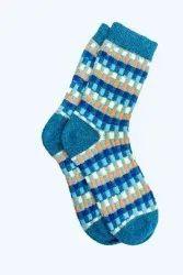 Ladies Printed Blue Woolen Socks