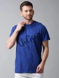 Half Sleeve Blue Mens Round Neck T Shirt
