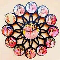 wall clock mdf customized photo frame