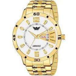 Abrexo Abx1220-White Golden Analog Watch