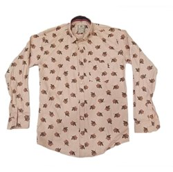 Cotton Light Brown Men Party Wear Printed Shirt