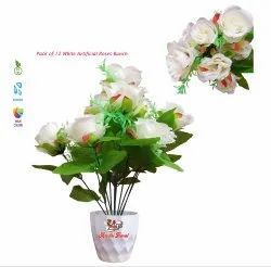 Decorative Artificial White Rose Flowers Bunch, Artificial Fabric Flower