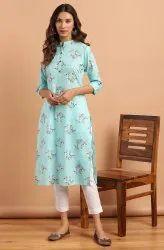 Janasya Women's Turquoise Cotton Kurta With Pant(SET263)