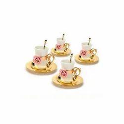 Ceramic Flower Gold Tea Cup, Set Of 4