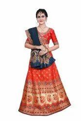MS Desginer Wedding Wear Designer Lehenga Saree, 5.5 m (separate blouse piece)