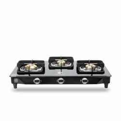 Three Burner Black Gas Stove With Safety Device
