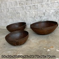 Surya Rustic Metal Kadai Bowls, For Fire Bowls/ Open Barbeques