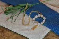 Brass Gold Natural Stone Necklace, Box