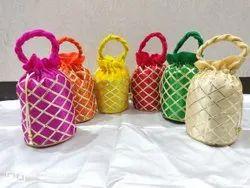 Handled Multicolor Ladies Party Wear Potli Bag