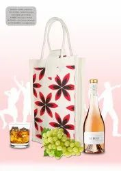 Printed Canvas Bag Two Bottle