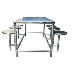 Cook Mart Silver Commercial SS Dining Table With Seaters