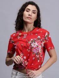 AKR Industries Half Sleeve Floral Red Women T-Shirt
